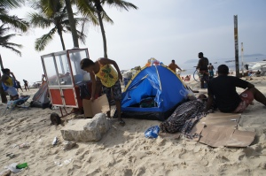 Tent city in Ipanema