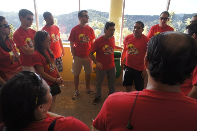 Briefing at the cable car station, just before the walk through the favela starts