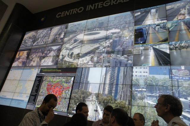 Helicopter image of Maracanã Stadium, on video wall